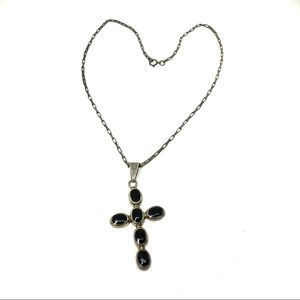 """Sterling Black Onyx Cross with 16"""" Elongated Chain"""